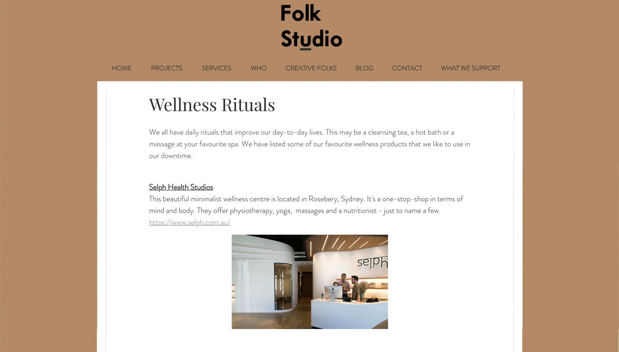 Wellness Rituals With Folk Studio & Selph Health Studios